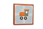 Homeworks Etc Train Canvas Wall Art, Orange/Grey/Beige