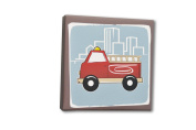 Homeworks Etc Firetruck Canvas Wall Art, Red/Blue/Brown