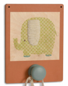 Tree by Kerri Lee Wuzzy Wall Hook Elephant, Orange/Green