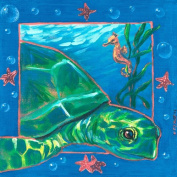 Oopsy Daisy Underwater Sea Turtle Stretched Canvas Wall Art by Colleen Phelon Hall, 35.6cm by 35.6cm