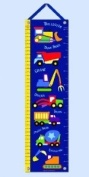 Under Construction Heavy Equipment Hanging Growth Chart w Blue Ribbon