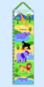 Wild Animals Hanging Growth Chart w Green Ribbon