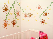 CuteyBaby Go Bananas Modern Monkeys Wall Decals, 45.7cm x 121.9cm Sheet