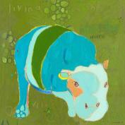 Oopsy Daisy B Hippo Stretched Canvas Wall Art by Jennifer Mercede, 35.6cm by 35.6cm