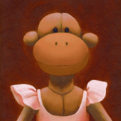 Oopsy Daisy Ballerina Monkey Canvas Stretched Art by Margot Curran, 35.6cm by 35.6cm