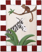 Doodlefish Gallery-Wrapped 40.6cm x50.8cm Wall Art, Zebra and Monkey