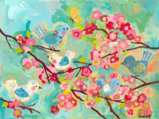 Oopsy Daisy Cherry Blossom Birdies Stretched Canvas Wall Art by Winborg Sisters, 61cm by 45.7cm