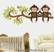 Baby Nursery Wall Decals Safari Jungle Childrens Themed 137.2cm X 58.4cm (Inches) Animals Trees Monkeys Wildlife Made of Seramark Material Repositional Removable Reusable