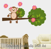 Baby Nursery Wall Decals Safari Jungle Childrens Themed 152.4cm X 83.8cm (Inches) Animals Trees Monkeys Wildlife Made of Seramark Material Repositional Removable Reusable