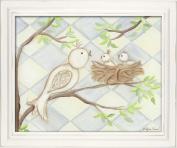 Doodlefish Framed 18'x38.1cm Wall Art, Bird Blue Diamond