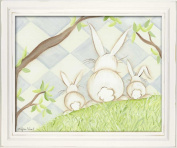 Doodlefish Framed 18'x38.1cm Wall Art, Bunny Blue Diamond
