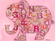 Oopsy Daisy Pink Alphabet Elephant Stretched Canvas Wall Art by The Winborg Sisters, 61cm by 45.7cm