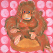 Baxter's Corner Olivia the Orangutan Monkey Series 18 X 18 Kids Gallery Wrapped Canvas Wall Art; Pink, Brown & Orange