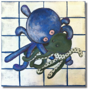 Baxter's Corner Oakley the Octopus Series 18 X 18 Kids Gallery Wrapped Canvas Wall Art; Deep Ocean Aqua, Blue & Green