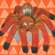 Baxter's Corner Tajo the Baby Tarantula Spider Series 18 X 18 Kids Gallery Wrapped Canvas Wall Art; Red, Orange & Teal