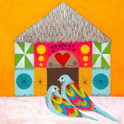 Oopsy Daisy Colourful Lovebirds Wall Art, 24 by 24