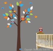 Baby Nursery Wall Decals Childrens Themed 190.5cm X 116.8cm (Inches) Animals Trees Monkeys Owls Wildlife Made of Seramark Material Repositional Removable Reusable