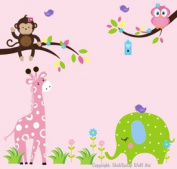 Baby Nursery Wall Decals Childrens Jungle Safari Themed 152.4cm X 165.1cm (Inches) Animals Trees Giraffes Monkeys Elephants Birds Owls Wildlife Made of Seramark Material Repositional Removable Reusable