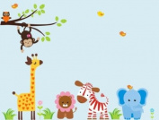 Baby Nursery Wall Decals Safari Jungle Childrens Themed 152.4cm X 218.4cm (Inches) Animals Trees Jungle Safari Giraffe Lion Zebra Monkey Owls Wildlife Made of Seramark Material Repositional Removable Reusable