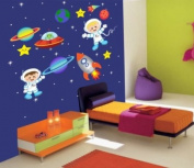 Baby Nursery Wall Decals Space Astronauts Rockets Planets Childrens Themed 172.7cm X 188cm (Inches) Made of Seramark Material Repositional Removable Reusable