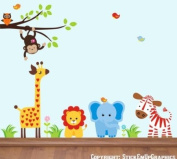 Baby Nursery Wall Decals Safari Jungle Childrens Themed 152.4cm X 218.4cm (Inches) Animals Trees Jungle Safari Giraffe Monkeys Owls Lion Elephant Zebra Wildlife Made of Seramark Material Repositional Removable Reusable