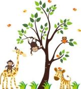 Baby Nursery Wall Decals Safari Jungle Childrens Themed 160cm X 144.8cm (Inches) Animals Trees Monkeys Giraffe Birds Wildlife Made of Seramark Material Repositional Removable Reusable