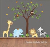 Baby Nursery Wall Decals Safari Jungle Children's Themed 121.9cm X 137.2cm (Inches) Animals Trees Monkey Zebras Giraffes Elephant Wildlife Made of Seramark Material Repositional Removable Reusable Wall Fabric