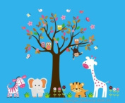 Baby Nursery Wall Decals Safari Jungle Childrens Themed 106.7cm X 139.7cm (Inches) Animals Trees Zebras Elephants Tigers Giraffes Monkeys Owls Forest Woodlands Wildlife Made of Seramark Material Repositional Removable Reusable
