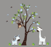 Baby Nursery Wall Decals Safari Jungle Childrens Themed 210.8cm X 170.2cm (Inches) Animals Trees Monkey Giraffe Zebra Monkeys Owls Wildlife Made of Seramark Material Repositional Removable Reusable