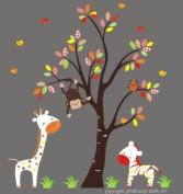 Baby Nursery Wall Decals Safari Jungle Childrens Themed 210.8cm X 170.2cm (Inches) Animals Trees Monkey Zebras Giraffes Wildlife Made of Seramark Material Repositional Removable Reusable