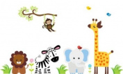 Baby Nursery Wall Decals Safari Jungle Childrens Themed (Inches) Animals Trees Monkey Zebra Lions Elephants Birds Giraffes Wildlife Made of Seramark Material Repositional Removable Reusable