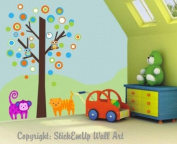 Baby Nursery Wall Decals Safari Jungle Childrens Themed 190.5cm X 127cm (Inches) Animals Trees Monkeys Owls Trees Made of Seramark Material Repositional Removable Reusable