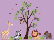 Baby Nursery Wall Decals Safari Jungle Childrens Themed 152.4cm X 198.1cm (Inches) Animals Trees Monkey Zebras Giraffes Lions Owls Wildlife Made of Seramark Material Repositional Removable Reusable