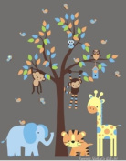 Baby Nursery Wall Decals Safari Jungle Children's Themed 210.8cm X 266.7cm (Inches) Animals Trees Monkey Elephant Tiger Giraffes Wildlife Made of Seramark Material Repositional Removable Reusable