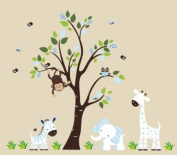 Baby Nursery Wall Decals Safari Jungle Childrens Themed 210.8cm X 170.2cm (Inches) Animals Trees Monkeys Zebras Elephants Giraffes Owls Wildlife Made of Seramark Material Repositional Removable Reusable