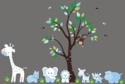 Baby Nursery Wall Decals Safari Jungle Children's Themed 210.8cm X 170.2cm (Inches) Animals Trees Monkey Elephant Lions Tigers Hippo Giraffes Wildlife Made of Seramark Material Repositional Removable Reusable