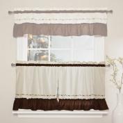 CHF Industries Jayden Tiered Kitchen Curtain - One Pair Colour - Chocolate