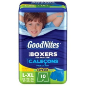 GoodNites Boys Boxers for Nighttime L-XL (27.22-49.9kg) - 10-count