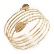Gold Plated Crystal Leaf Armlet Bangle - up to 28cm upper arm
