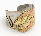 Steel with Brass and Copper Leaves Cuff Bracelet