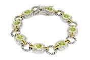 Elegant 2-tone Designer-Inspired Bracelet w/Peridot CZs
