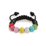 Bling Jewellery Multicolor. Crystal Childrens Shamballa Inspired Bracelet 8mm