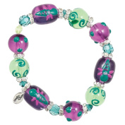 Clementine Design Kate & Macy Dazzling Dragonflies Bracelet Painted Glass Beads Rhinestones