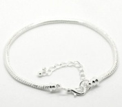 Starter Master 17.8cm Bracelet for Pandora, Troll, Biagi and Charmilia Style Beads - Removable Lobster Claw - Beads Won't Fall Off + 5.1cm Extension Chain - Silver Tone Metal