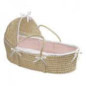Badger Basket Natural Hooded Moses Basket, Pink Waffle Bedding