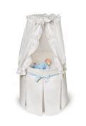 Badger Basket Empress Round Baby Bassinet - White Bedding with Gingham Belts