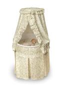 Badger Basket Empress Round Baby Bassinet - Ecru and Leaf Print Bedding