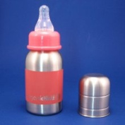 organicKidz Stainless Steel Baby Bottle 120ml Narrow Neck - Pink