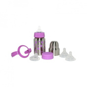 organicKidz 7pc Stainless Steel Baby Bottle Gift Set with Sippy Cup and Water Bottle - Lavender Dots