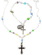 Girls Holy First Communion Multi Colour Crystal Bead Silver Plate Necklace with Charm Bracelet Set Gift Boxed